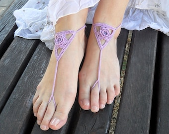 Lilac Barefoot Sandals Beach Crochet Sexy Nude Shoes Yoga Cotton Foot Jewelry Bridal Toe Shoes Wedding Beach Sandals - SC0012I
