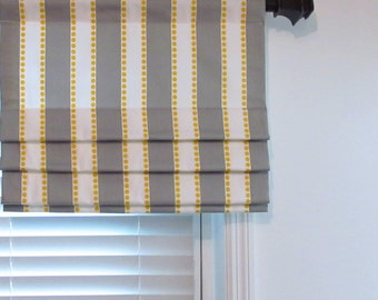 Lined Faux Roman Shade Stripe Dots  Grey/ White/ Yellow/  Custom Sizing Available!