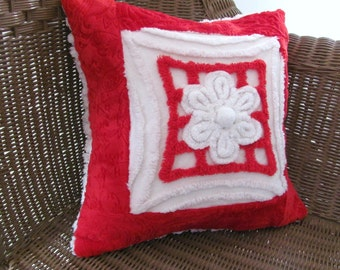 VALENTINE red pillow cover, 14 X 14 chenille cushion cover, vintage chenille red pillow case, holiday cushion, patriotic pillow cover