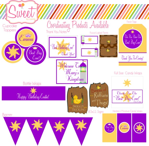Rapunzel Tangled Inspired Birthday DIY Printable Set