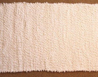 Handwoven Rag Rug - Fuzzy SOFT White Chenille - 50 inches....(#107)