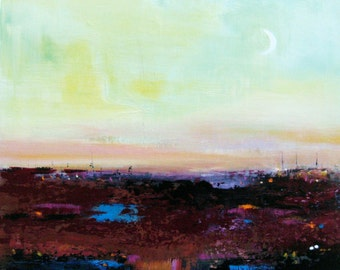Australian Landscape, Abstract Painting, original art, New moon, Acrylic painting on board,