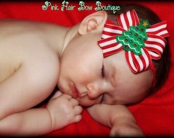 Christmas headband, baby's first christmas bow, Adorable Christmas tree Headband Hair Bow Headband Perfect For Baby's First Christmas