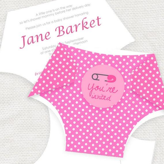 homemade baby shower invitations diaper template  diy diaper, Baby shower