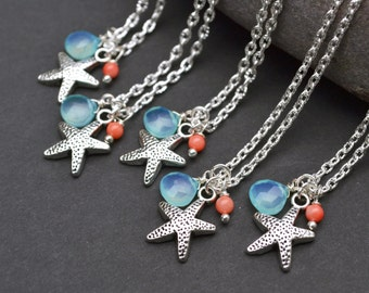 Starfish Necklace, Beach Wedding Necklace, Personalized Bridesmaid Gift, Birthstone Necklace, Summer Jewelry