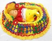 drawstring cradle purse childs toy crocheted church purse itty bitty baby bassinet BG119