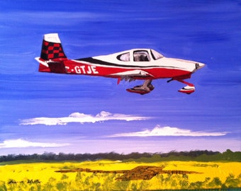 painting of airplane boat car motorcycle