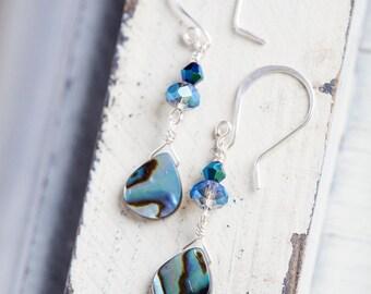 Abalone Shell Earrings, Blue, Shell Earrings, Teardrop shells