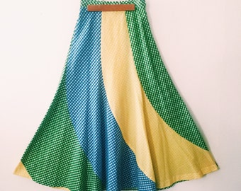 1960s Maxi Circle Skirt in Yellow Blue and Green Gingham Swirl Pattern / 60s Skirt