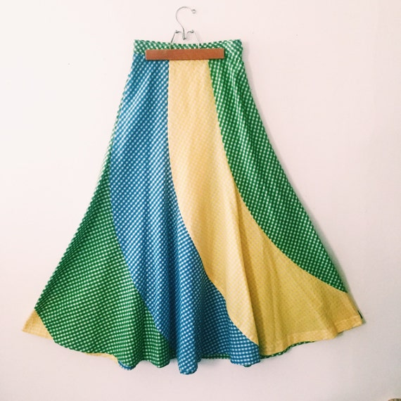 1960s maxi circle skirt in yellow blue and green by