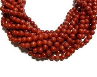 Red Bamboo Coral - 7mm Round Bead - around 63 beads - Full Strand - 0.5mm hole