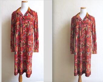 Vintage Deadstock Funky 70s Batik Print Polyester Dress sz 18 Plus
