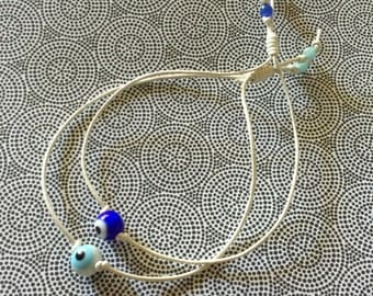 Set of 2 Light and Cobalt Blue Evil Eyes - Protects you from danger and misfortune