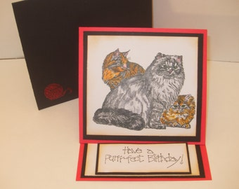Cat Kitten Cat Lover Themed Handmade Decorative 3D Greeting Card For All Occasions (8 Greeting Options Available)