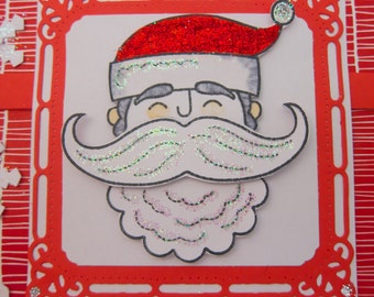 Santa Stache Themed Handmade Decorative 3D Greeting Card For All Occasions (Blank Options Available)