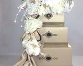 Wedding Card Box Gold with Black Wedding Card Holder Wedding Card Box Secure Lock Wedding Card Box, Handmade Wedding Card Box