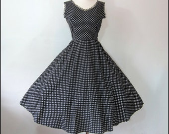 SALE-Coupon Code Vintage 1950's Atomic Print Party Dress