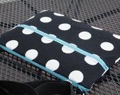 13 inch Polka dot Laptop Bag, Zipper Macbook Bag, 15inch Polka Laptop Bag, Polka 13 inch Macbook Air Bag, Zipper Pocket Macbook Bag,