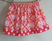 Girls Skirt Twirl Skirt Floral Plaid Pink Orange Polka Dots Ready to Ship!