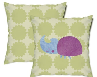 Rhino Beetle Throw Pillow