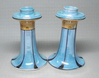japan luster ware candle holder pair , blue
