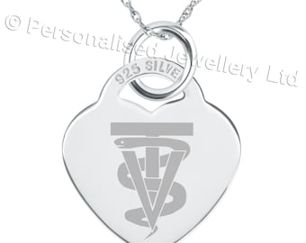 A Vet Tech Symbol Necklace, 925 Sterling Silver Heart Personalised/Engraved