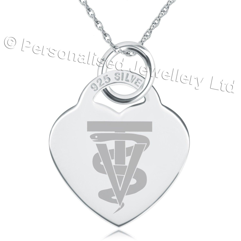 A Vet Tech Symbol Necklace 925 Sterling Silver Heart