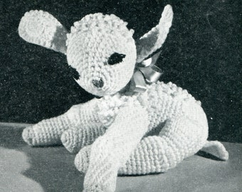 1950's Baby Lamb Stuffed Animal Crochet Pattern Instant Download PDF