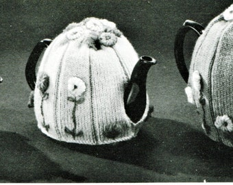 1960's Knitted Teapot Cosies with Flowers Pattern Instant Download PDF