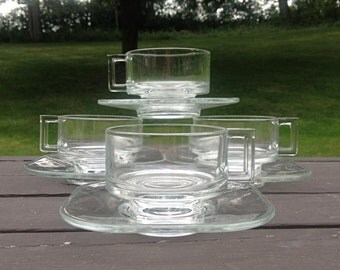 Modernist Glass Coffee / Tea Cups with Saucer - Italy