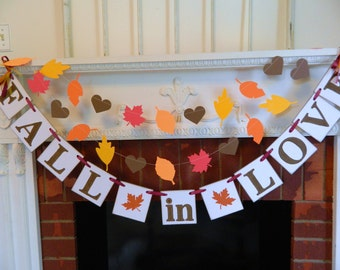 FALL IN LOVE Banner, Wedding Decor, Autumn Wedding Banners , Bridal Shower Decor, Autumn Wedding Banner, Fall in Love sign, Custom Colors