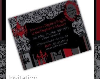 Halloween Party Invitation - Victorian Rouge ~ Halloween Invitation, Halloween Invite, Halloween Party, Halloween theme party