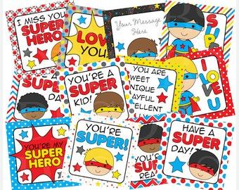 school lunch box notes printable digital - Super Hero Boys Lunch Box Notes Printable