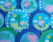 SET OF 12, George Pig - Cupcake Toppers, Peppa Pig