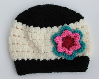 Crochet Brielle Beanie - Newborn, 3-6m, & 6-12m sizes