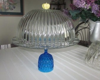 Large/Decorative/crystal/Dessert Covered Pedestal/Cake Stand/Serveware/blue yellow/rib pattern/Cloche cake dome cover/Mother's Day