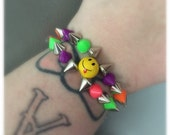 MultiColored Double Spiked Smiley Face Bracelet