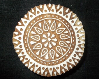 Circle Mandala hand carved Indian block printing stamp/tjap/textile pottery stamp/ wooden block for printing on  paper and fabric