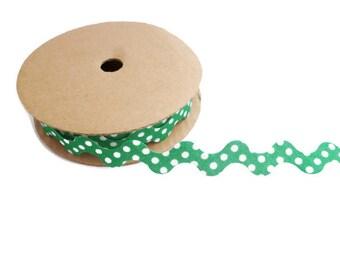 Green ric rac trim ribbon polka dot fabric zig zag wavy craft ribbon by the yard spotty ric rac