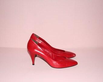 Red Heels/ Halston III/ 1980's/ size 9