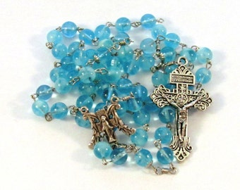 Handmade Blue Glow in the Dark Glass Bead Catholic Rosary with Indulgenced  Pardon Crucifix & Marian Center Medal