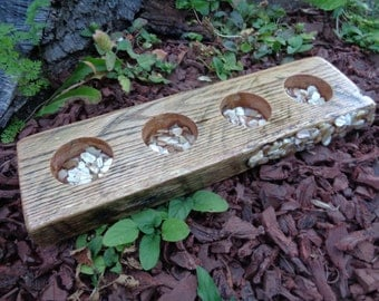 Reclaimed Pallet Oak Beam Candle Holder for 4 tea lights with mother of pearl inlay