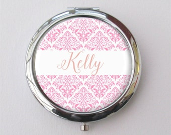 Compact Mirror, Bridesmaid Gift, Personalized Purse Mirror, Pink Damask
