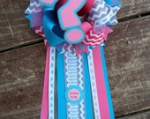 Gender Reveal corsage - Modern Chevron Blue & Pink -mommy to be