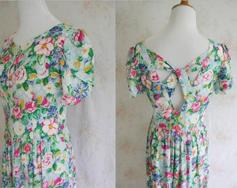 Vintage 80s Lanz Dress, 1980s Floral Flower Print Dress, Sundress, Medium
