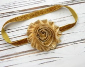 Gold Chiffon Flower Headband, Baby Headband, Infant Headband, Gold Glitter Headband