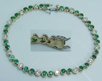 Estate 18K Yellow Gold 3.60ct Emeralds 1.40ct Diamonds Bracelet Jewelry