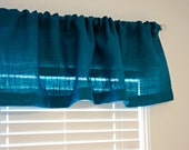 "Turquoise Burlap Valance Or Choose any Color 38"" up to 100"" or Custom Size Boho Home Decor Turquoise Curtains Beach Style Decorating"