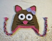 READY TO SHIP - 6 to 12 Month Size - Brown, Light Purple and Pink Kitty  - Crocheted Hat - Photo Prop