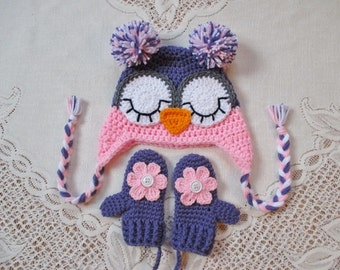 Lavender and Baby Pink Sleepy Eye Owl Crochet Hat and Mitten Set - Photo Prop - Available in Baby to Toddler Size - Any Color Combo